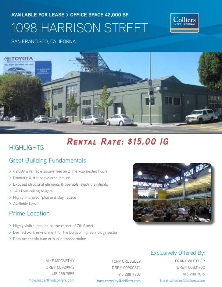 AVAILABLE FOR LEAsE > OFFICE sPACE 42,000 sF 1098 HARRISON STREET sAN FRANCisCO, CAliFORNA                                ...