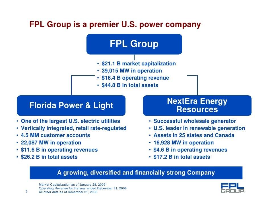 FPL Group Is A Premier U.S. Power Company ...