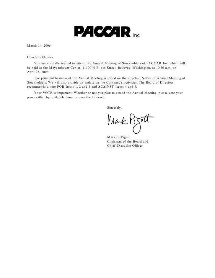 Inc March 14, 2006   Dear Stockholder:     You are cordially invited to attend the Annual Meeting of Stockholders of PACCA...