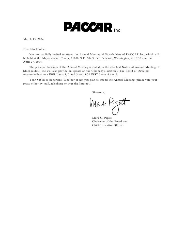 Inc March 15, 2004   Dear Stockholder:     You are cordially invited to attend the Annual Meeting of Stockholders of PACCA...