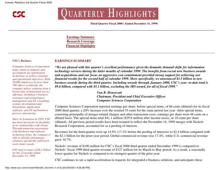Investor Relations 3rd Quarter Fiscal 2000                                                                                ...
