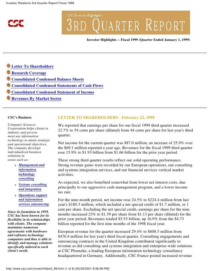 Investor Relations 3rd Quarter Report Fiscal 1999                                                               Investor H...