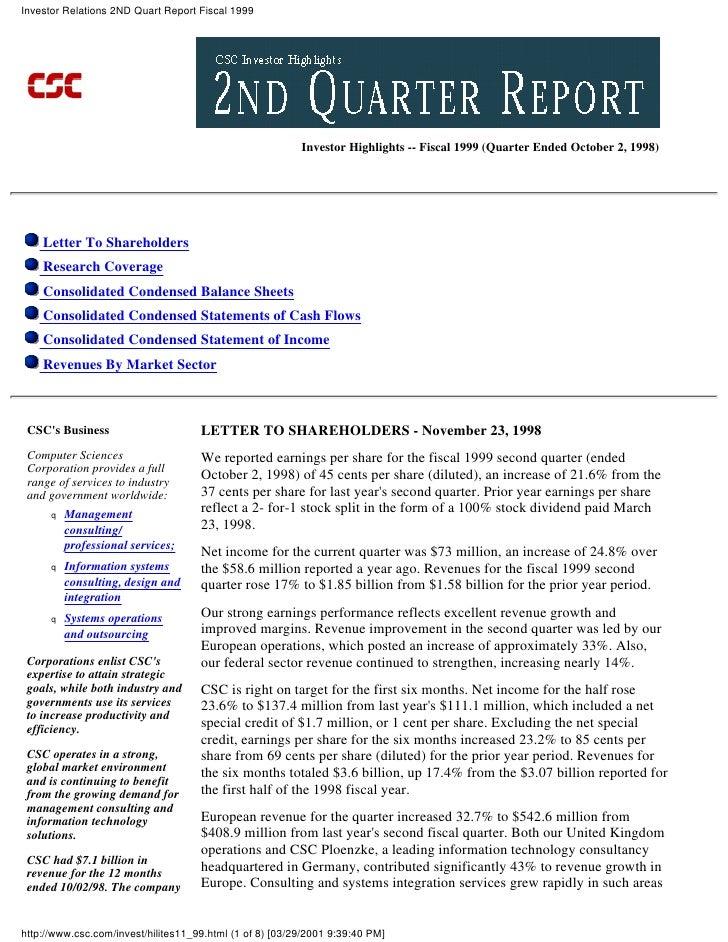 Investor Relations 2ND Quart Report Fiscal 1999                                                               Investor Hig...