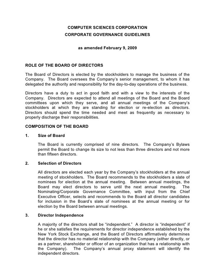COMPUTER SCIENCES CORPORATION                      CORPORATE GOVERNANCE GUIDELINES                               as amende...