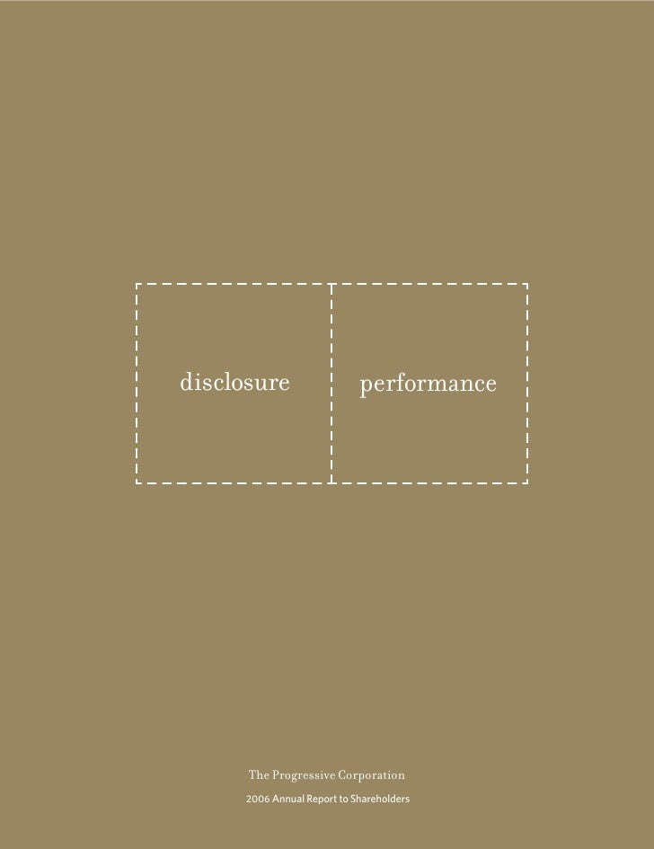 disclosure                   performance           The Progressive Corporation       2006 Annual Report to Shareholders