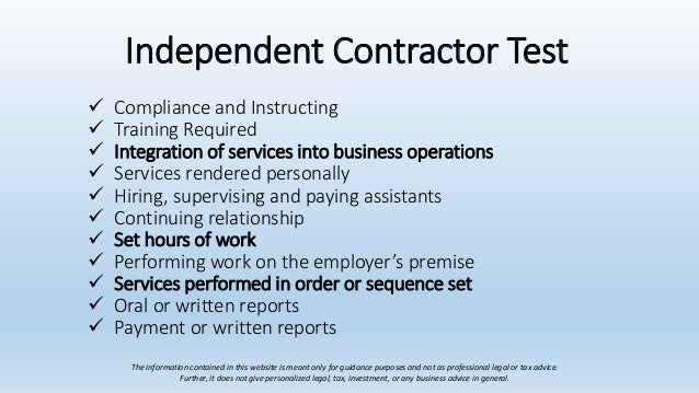 1 is mary an independent contractor or an employee describe the In contrast to an employee, an independent contractor enters into an agreement with an employer while still maintaining their original which hirers of independent contractors would do well to know as knowledge of the presence of an independent contractor will be worthwhile.