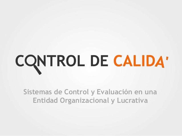 Sistemas de Control y Evaluación en una Entidad Organizacional y Lucrativa