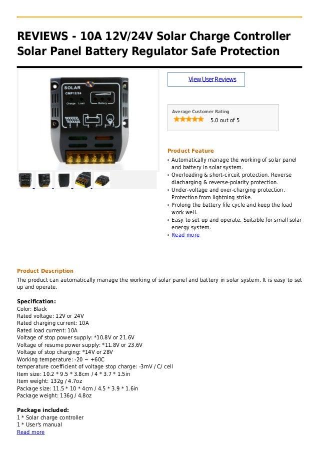 REVIEWS - 10A 12V/24V Solar Charge ControllerSolar Panel Battery Regulator Safe Protection                                ...