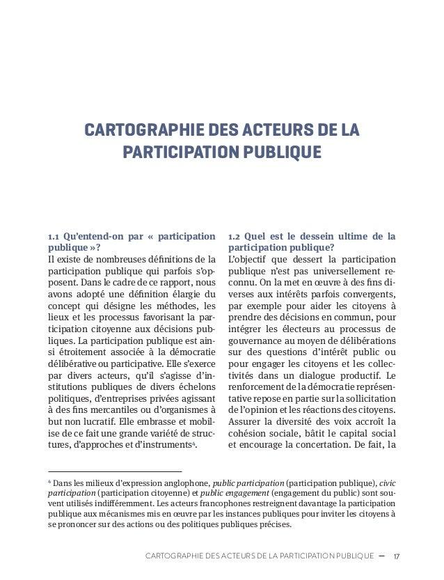 20 PROFESSIONNALISATION DE LA PARTICIPATION PUBLIQUE 1.3.2 Organismes à but non lucratif Comme en fait mention notre intro...