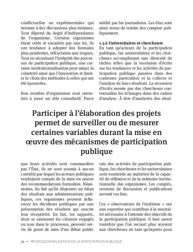 27CARTOGRAPHIE DES ACTEURS DE LA PARTICIPATION PUBLIQUE 1.4 L'écosystème de la participation publique La diversité des poi...