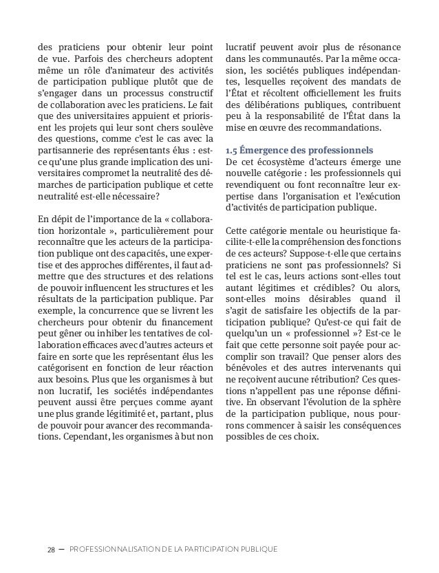 31POSSIBILITÉS ET DÉFIS QUE REPRÉSENTE LA PROFESSIONNALISATION DE LA PARTICIPATION PUBLIQUE POSSIBILITÉS ET DÉFIS QUE REPR...