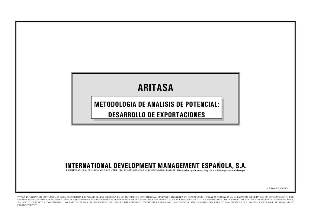 ARITASA                                                             METODOLOGIA DE ANALISIS DE POTENCIAL:                 ...
