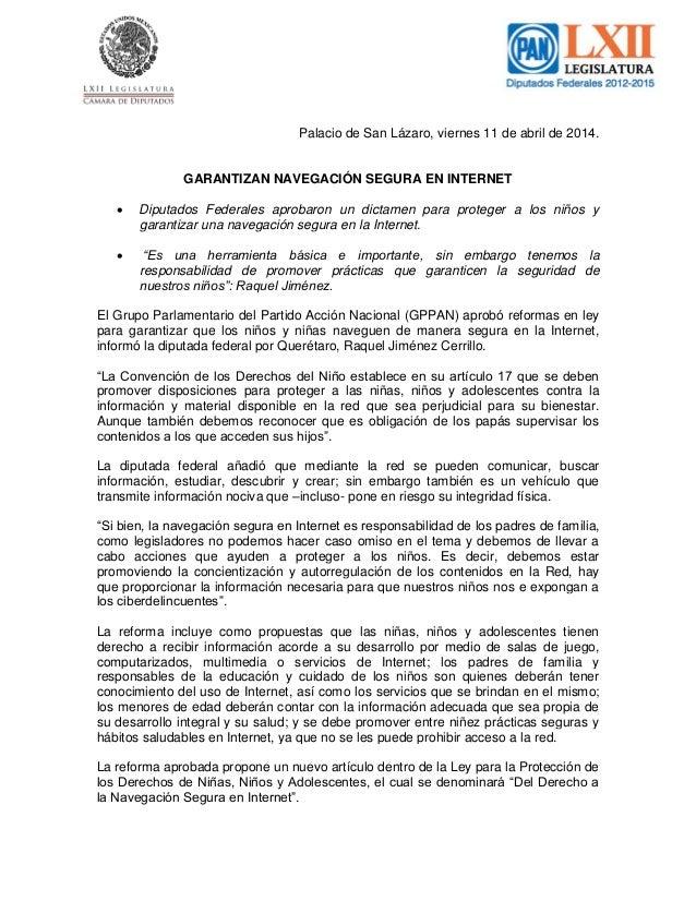 Palacio de San Lázaro, viernes 11 de abril de 2014. GARANTIZAN NAVEGACIÓN SEGURA EN INTERNET  Diputados Federales aprobar...