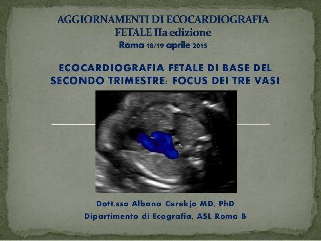 ECOCARDIOGRAFIA FETALE DI BASE DEL SECONDO TRIMESTRE: FOCUS DEI TRE VASI Dott.ssa Albana Cerekja MD, PhD Dipartimento di E...