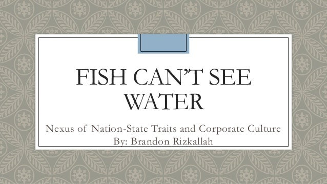 FISH CAN'T SEE WATER Nexus of Nation-State Traits and Corporate Culture By: Brandon Rizkallah