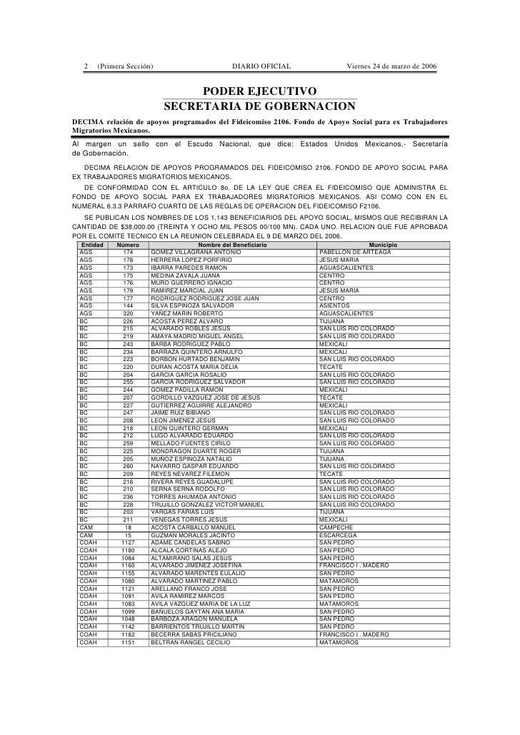 2   (Primera Sección)                         DIARIO OFICIAL            Viernes 24 de marzo de 2006                       ...