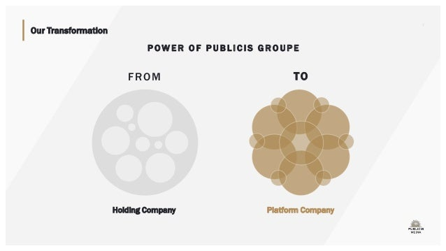 Our Transformation FROM Holding Company TO Platform Company 3 P OW E R O F P U B LI C IS G RO UPE