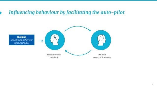 16 Influencing behaviour by facilitating the auto-pilot Nudging Influencing behaviour unconsciously Subconscious mindset Rat...