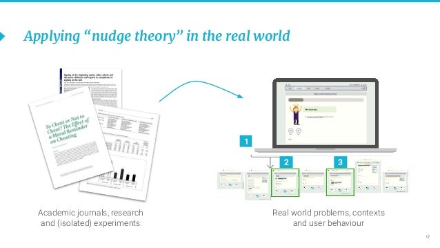 """17 Applying """"nudge theory"""" in the real world 2 3 1 Academic journals, research and (isolated) experiments Real world probl..."""