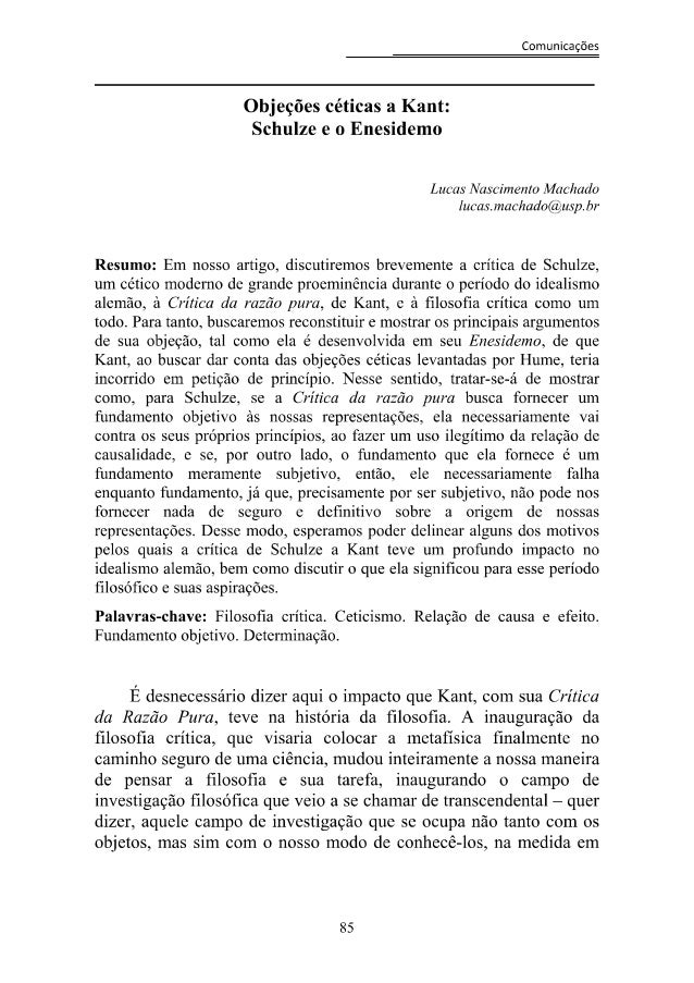 Objeções Céticas a Kant: Schulze e o Enesidemo
