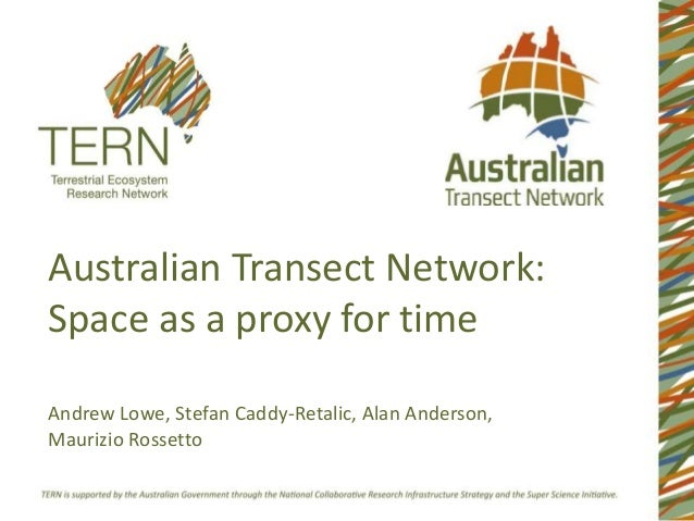 Australian Transect Network:Space as a proxy for timeAndrew Lowe, Stefan Caddy-Retalic, Alan Anderson,Maurizio Rossetto