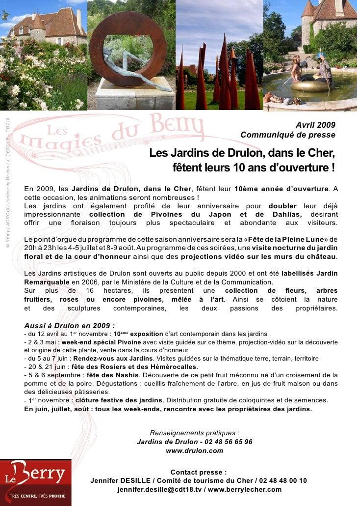 © Rémy LACROIX / Jardins de Drulon / J. DESILLE - CDT18                                                                   ...