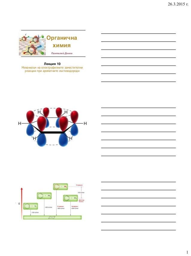 26.3.2015 г. 1 Лекция 10 Механизъм на електрофилните заместителни реакции при ароматните въглеводороди Органична химия Пан...