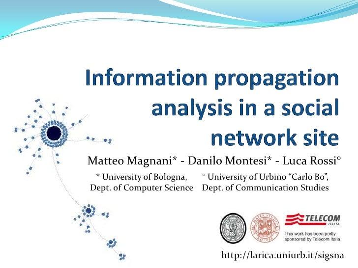 Information propagationanalysis in a socialnetwork site<br />Matteo Magnani* - Danilo Montesi* - Luca Rossi° <br />* Unive...