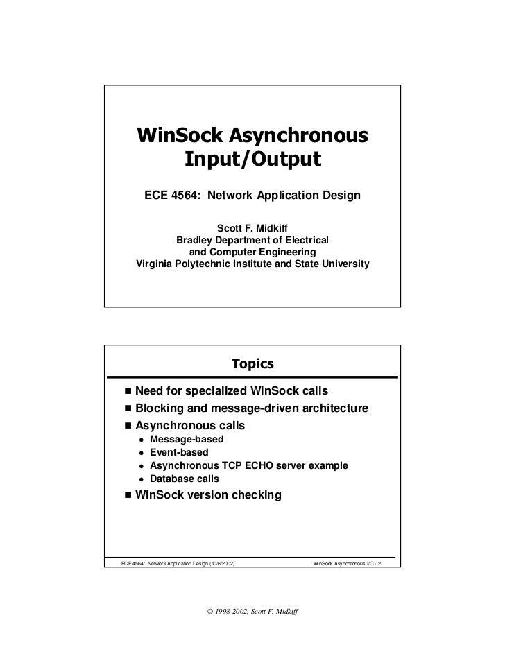 WinSock Asynchronous          Input/Output         ECE 4564: Network Application Design                       Scott F. Mid...