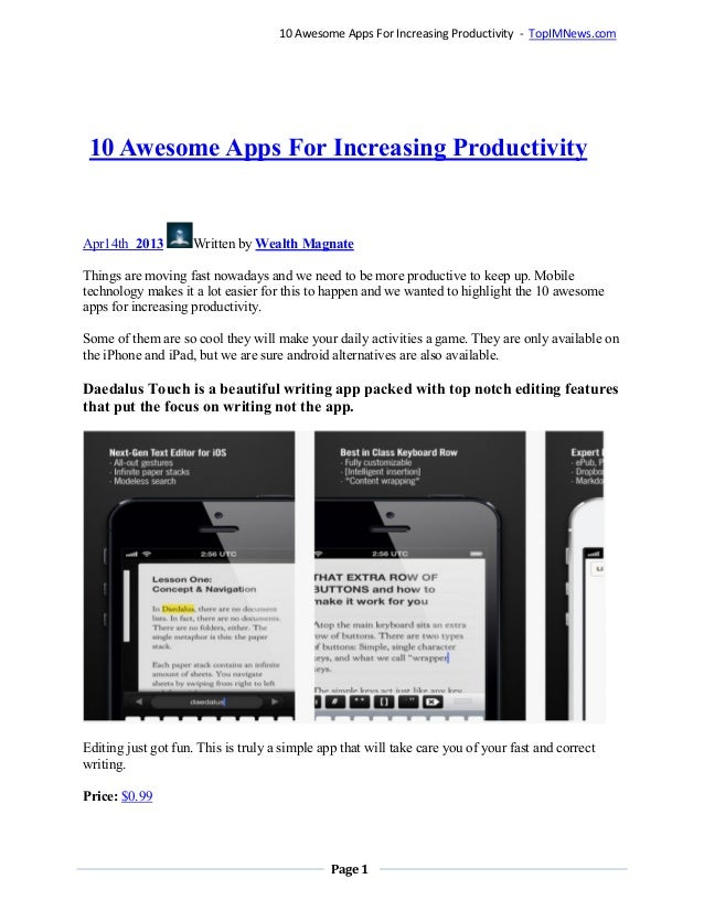 Page 110 Awesome Apps For Increasing Productivity - TopIMNews.com10 Awesome Apps For Increasing ProductivityApr14th 2013 W...