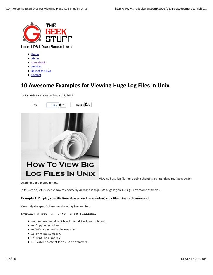 10 Awesome Examples for Viewing Huge Log Files in Unix                                                  ...
