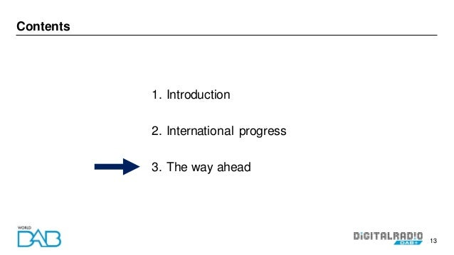 13 Contents 1. Introduction 2. International progress 3. The way ahead