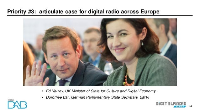 16 Priority #3: articulate case for digital radio across Europe • Ed Vaizey, UK Minister of State for Culture and Digital ...