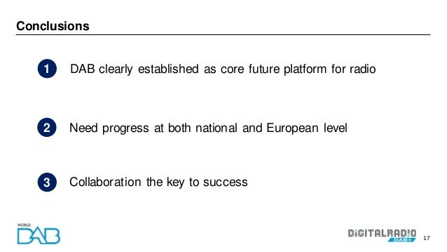 17 Conclusions DAB clearly established as core future platform for radio1 Collaboration the key to success3 Need progress ...