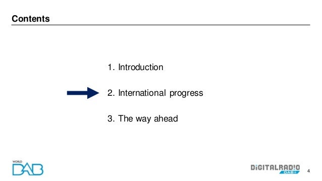 4 Contents 1. Introduction 2. International progress 3. The way ahead