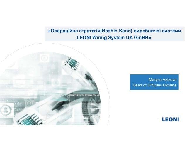 «Операційна стратегія(Hoshin Kanri) виробничої системи LEONI Wiring System UA GmBH» Maryna Azizova Head of LPSplus Ukraine