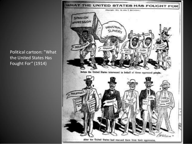 """Political cartoon: """"What the United States Has Fought For"""" (1914)"""