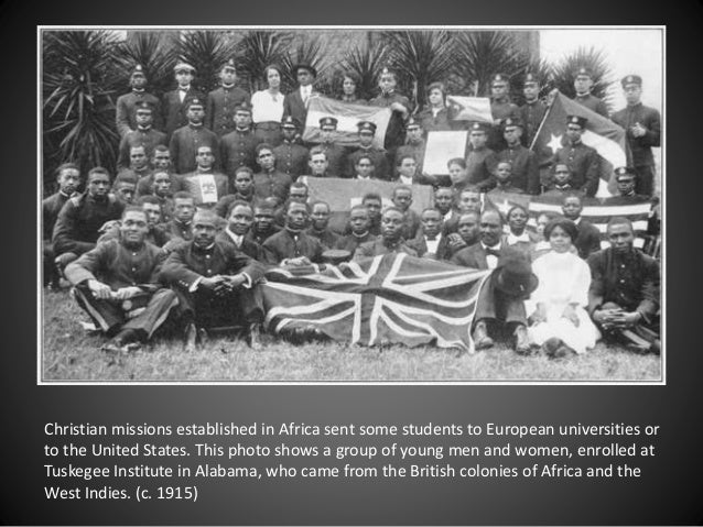 Christian missions established in Africa sent some students to European universities or to the United States. This photo s...