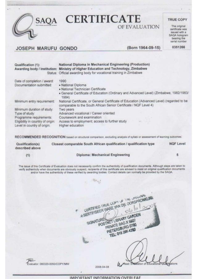Certificate Saqa