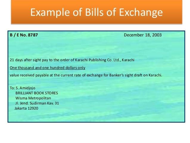 Banking example of bills of exchange altavistaventures Images