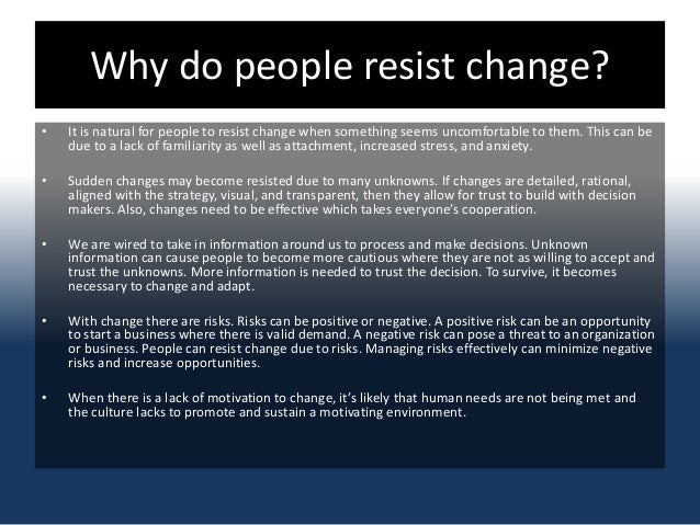 resistance to change and resolutions Conflict resolution tips - dealing with politics in resistance to change  management the higher your contacts are up the ladder, within an organisation,  the greater.