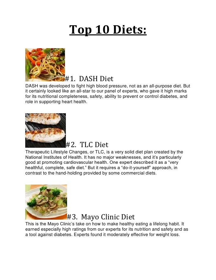Top 10 Diets:                    #1. DASH DietDASH was developed to fight high blood pressure, not as an all-purpose diet....