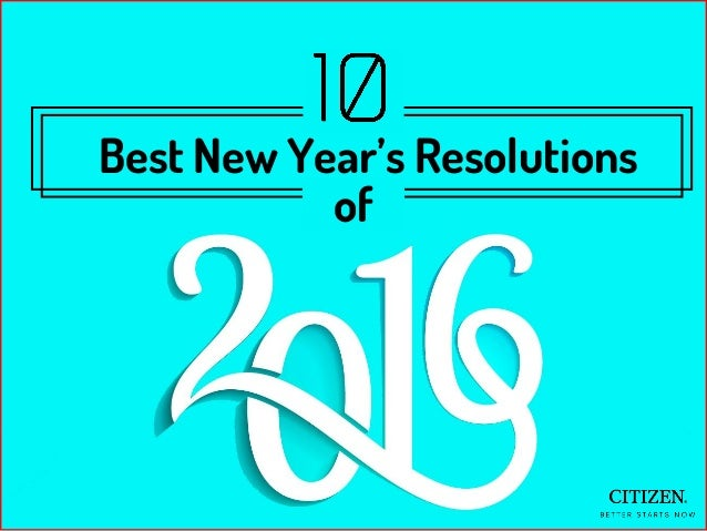 Best New Year's Resolutions of