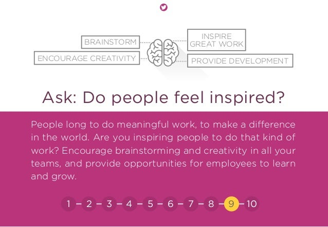 Ask: Do people feel inspired? People long to do meaningful work, to make a difference in the world. Are you inspiring peop...