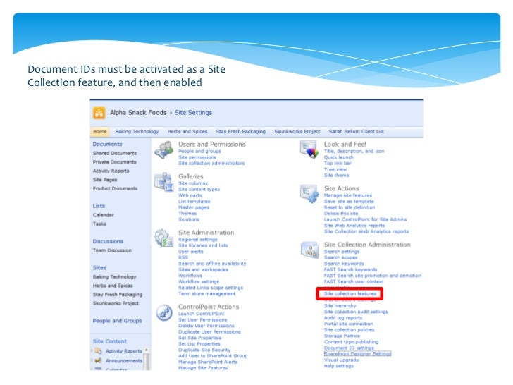 •   You can configure some setting by going to Site Collection Settings >> Mange Document ID's•   To view it in a library,...