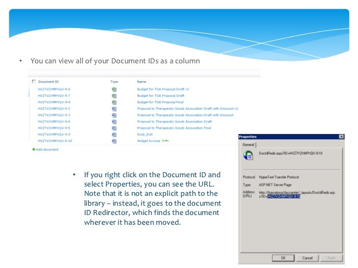 •   You can use the document ID Redirector in the DocCenter to find the documentNote that for existing documents some acti...
