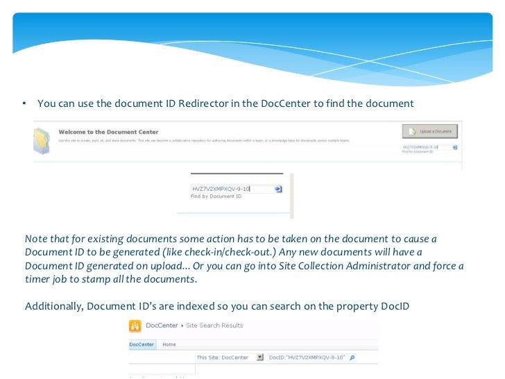 •   Another way to find the Document ID is in View Properties
