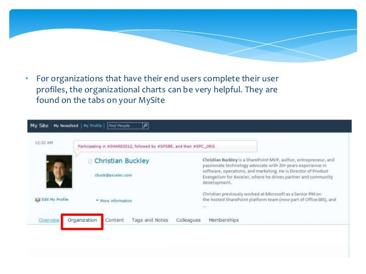 • The Silverlight control  makes the traditional org  chart visual and simple, with  management chain above,  peers on the...