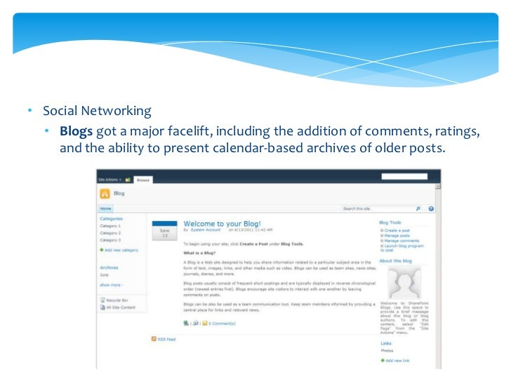 Social Networking  Enterprise Wiki is a new repository site template that adds a number  of features to the standard Wiki ...