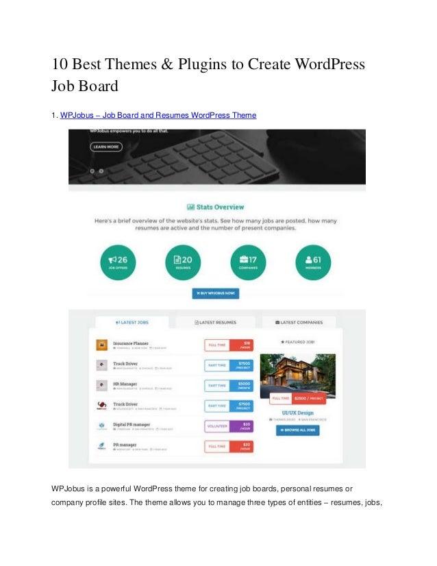 10 Best themes & plugins to create word press job board